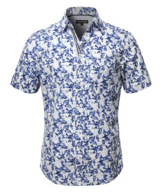 Men's Casual Cotton Floral Pattern Contrast Front Hem Short Sleeve Shirt