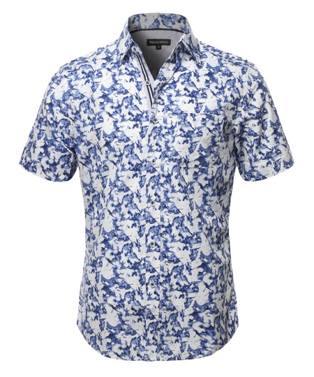 Men's Casual Cotton Floral Pattern Contrast Front Hem Short Sleeve Shirt