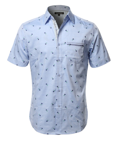 Men's Casual Cotton Floral Pattern Embroidery On Front Pocket Short Sleeve Shirt