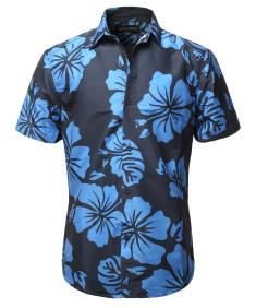 Men's Casual Summer Floral Pattern Short Sleeve Shirt