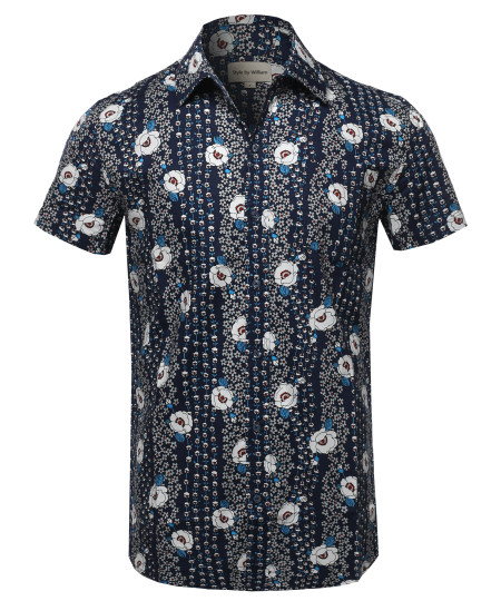 Men's Casual Cotton Patterned Button Down Chest Pocket Short Sleeve Shirt