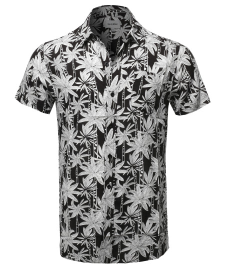 Men's Casual Patterned Button Down Chest Pocket Short Sleeve Shirt