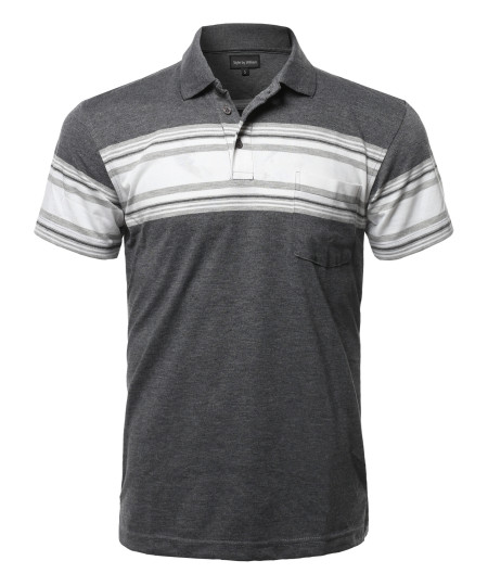 Men's Casual Everyday Basic Striped Single Chest Pocket Short Sleeves Polo T-Shirt