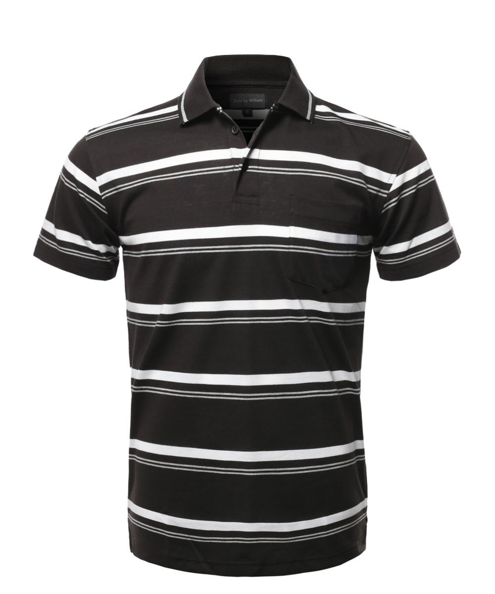 8967d76b9 Men's Casual Summer Basic Striped Chest Pocket Short Sleeve Polo T-Shirt