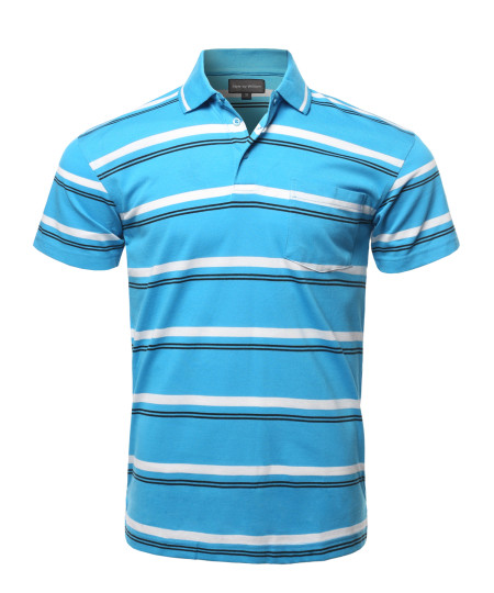 Men's Casual Summer Basic Striped Chest Pocket Short Sleeve Polo T-Shirt