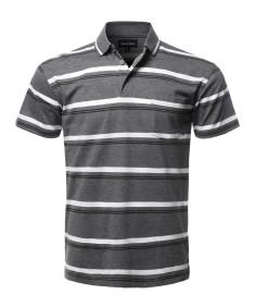 Men's Casual Summer Basic Striped Chest Pocket Short Sleeve Polo T-Shirt