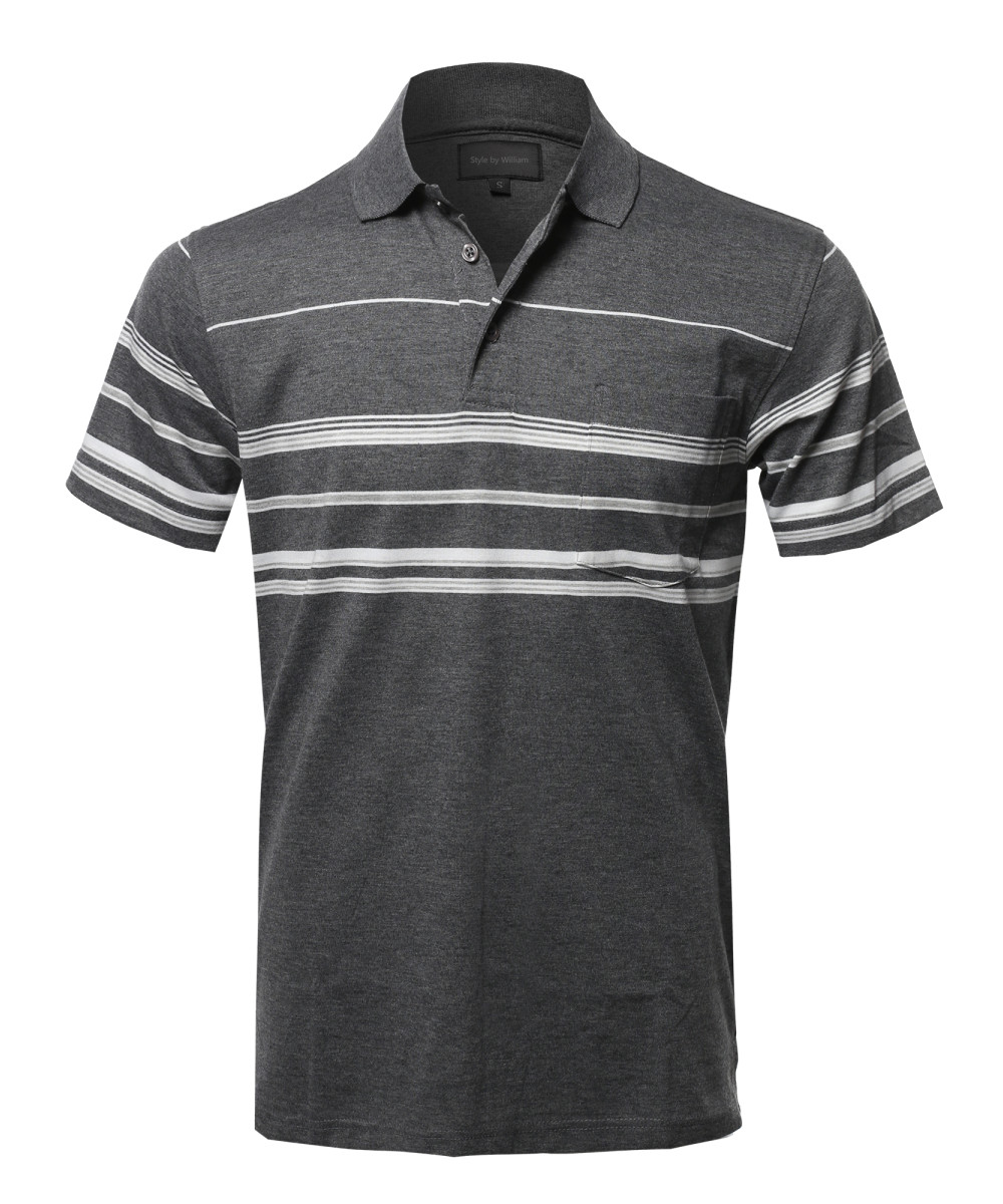 a8c859074df Men s Casual Comfortable Basic Striped Chest Pocket Short Sleeve Polo T- Shirt