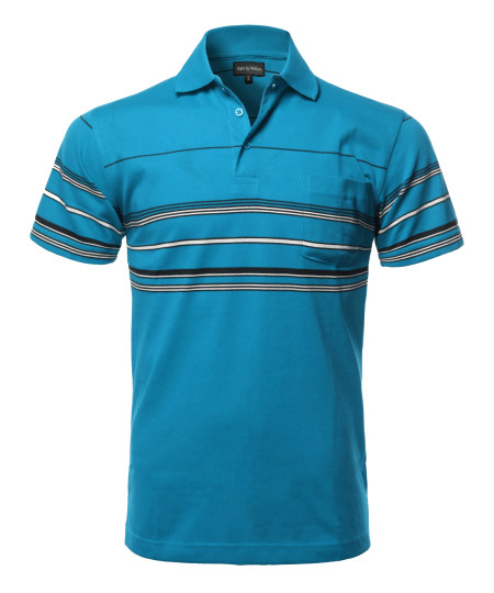 Men's Casual Comfortable Basic Striped Chest Pocket Short Sleeve Polo T-Shirt