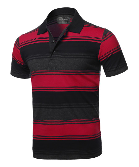 Men's Casual Regular fit Cotton Basic Striped Short Sleeve Polo T-Shirt