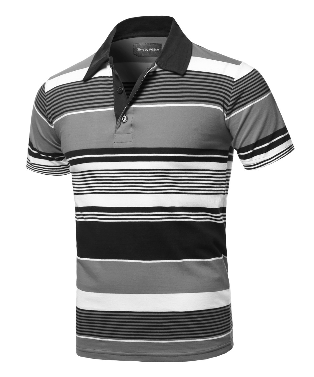 748f82fdf Men's Casual Regular fit Cotton Basic Striped Short Sleeve Polo T-Shirt