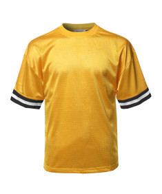 Men's Casual Active Sports Round Neck Short Sleeve Mesh Stripe Jersey T-Shirt