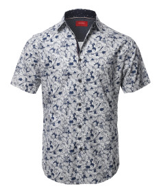 Men's Printed Cotton Casual Button Down Short Sleeve Shirt