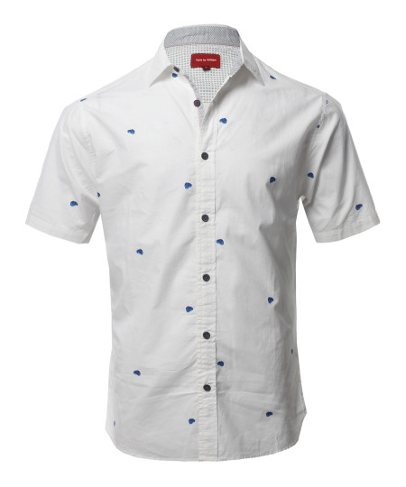 Men's Printed Cotton Casual Button Down Short Sleeve Shirt