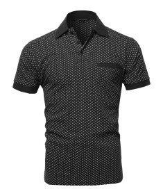 Men's Casual Comfortable Printed Chest Pocket Short Sleeve Polo T-Shirt