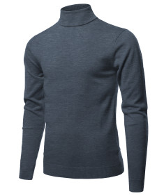 Men's Casual Solid Soft Knitted Long Sleeve Turtleneck Sweater