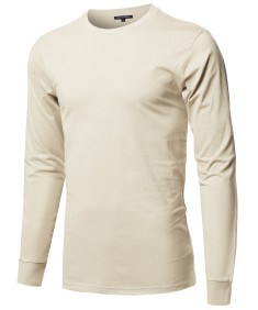 Men's Causal Solid Basic 100% Ring Spun Cotton Long Sleeve T-shirt