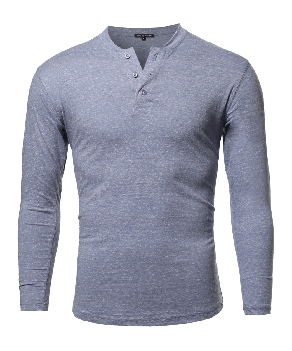 Men 39 s marble long sleeves henley collar t shirt for Mens collared henley shirt