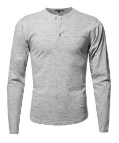 Men's Marble Long Sleeves Henley Collar T-Shirt