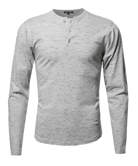 Men's Marble Long Sleeves Henley Collar T-Shirt