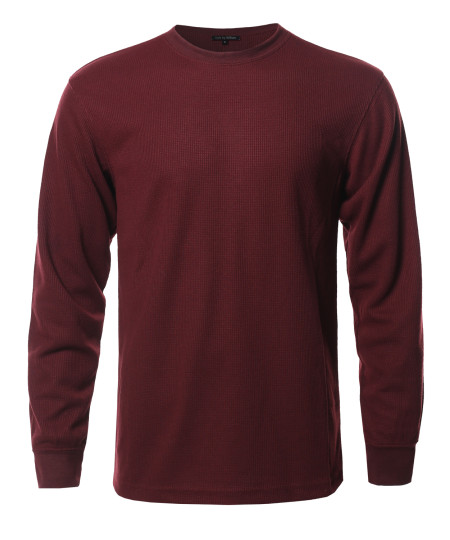 Men's Solid Basic Crew Neck Thermal Long Sleeve T-Shirt