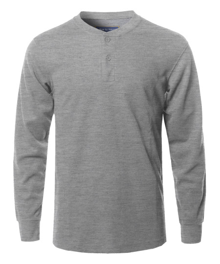 Men's Solid Basic Henley Neck Thermal Long Sleeve T-Shirt