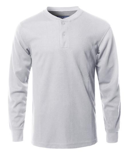 Men's Solid Basic Henley Neck Thermal Long Sleeve T-Shirt