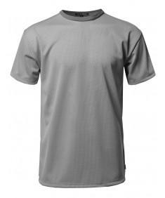 Men's Solid Active Casul Mesh Original Short Sleeve Top