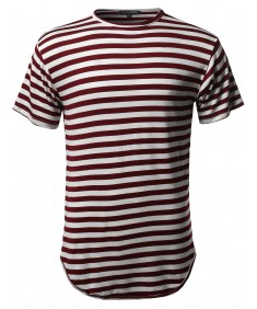 Men's Stripe Longline Slim Fit Round High Low Hem Short Sleeve Top