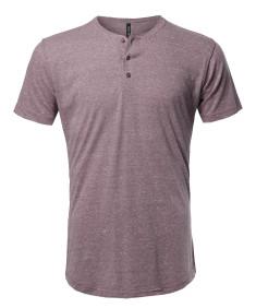 Men's Marble Short Sleeves Henley Collar T-Shirt