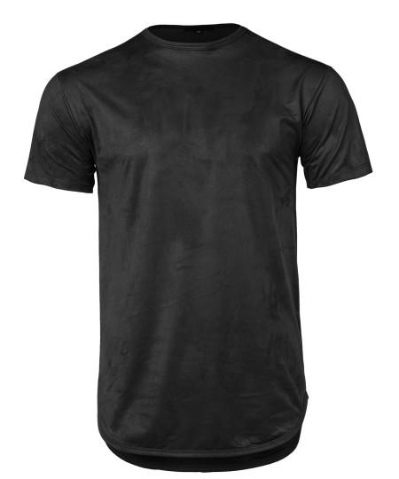 Men's Longline Suede Crew Neck Rounded Hem Short Sleeves T-Shirt Top