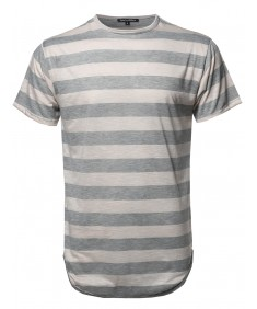 Men's Stripe Long-Line Slim Fit High Low Hem Short Sleeve Round Neck Top