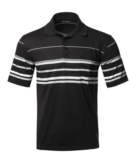 Men's Basic Everyday Stripe Pocket Polo T-Shirt