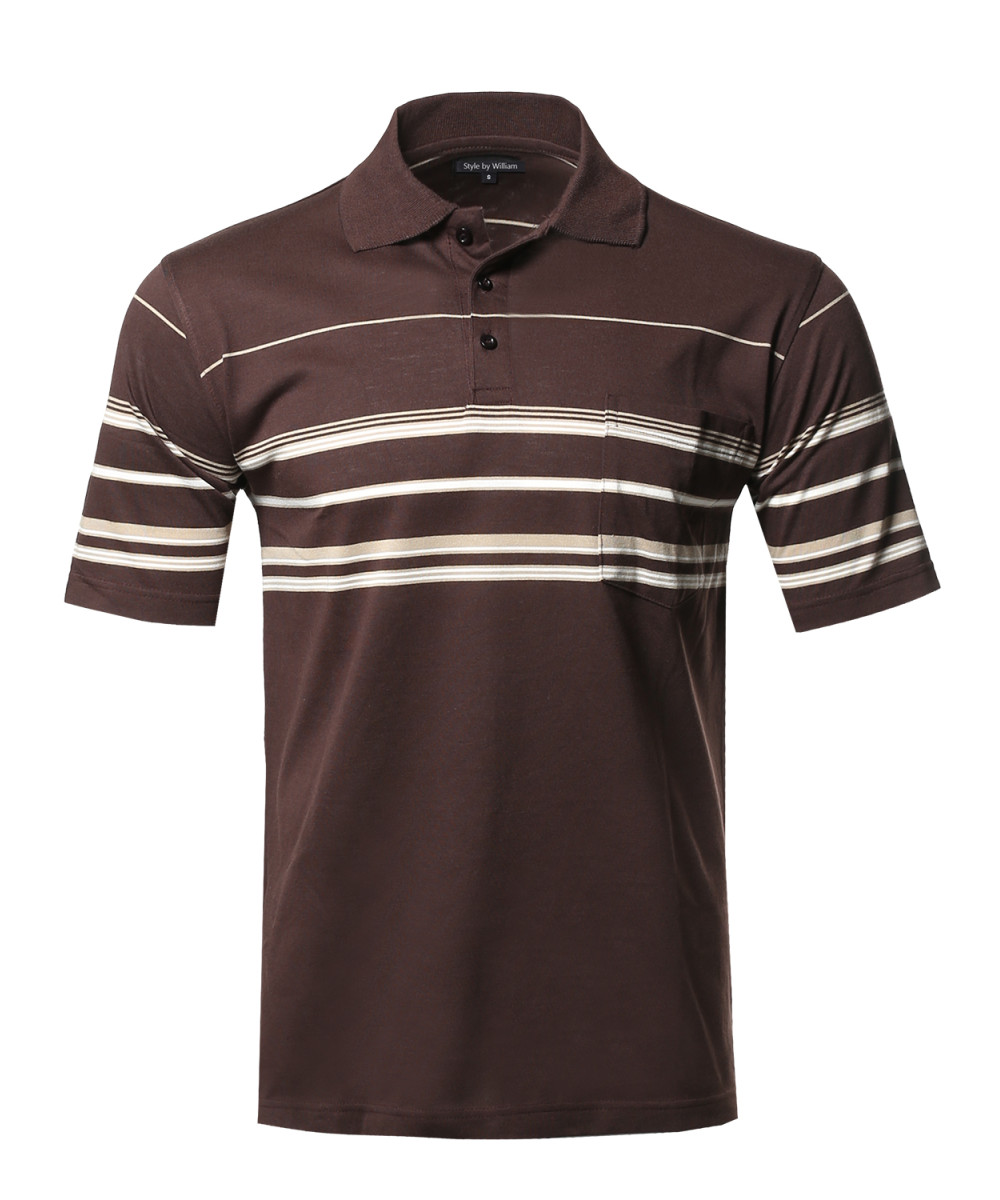 Men 39 s basic everyday stripe pocket polo t shirt for Polo t shirts with pockets