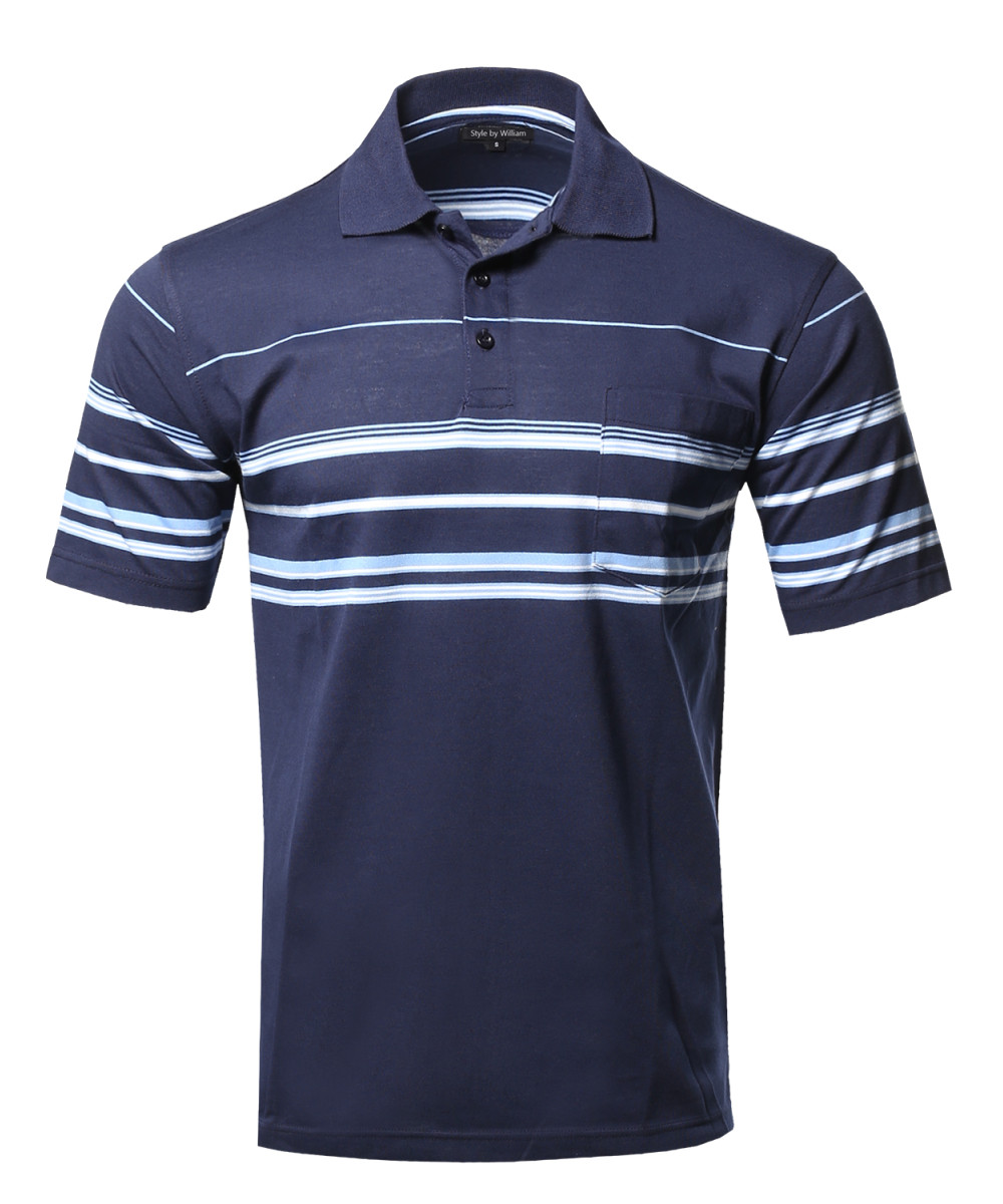 Men 39 s basic everyday stripe pocket polo t shirt for Polo t shirts with pocket online