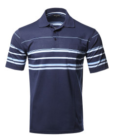 Men's Basic Everyday Stripe Pocket Polo T-Shirt