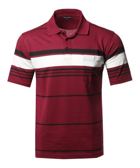 Men's Basic Everyday Stripe Chest Pocket Polo T-Shirt