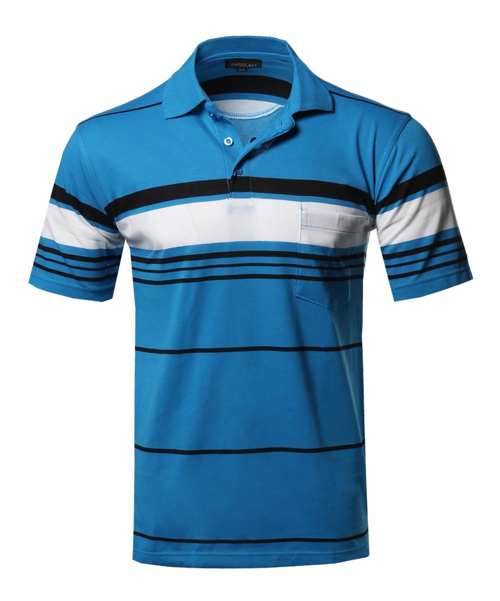 Men 39 s basic everyday stripe chest pocket polo t shirt for Men s polo shirts with chest pocket