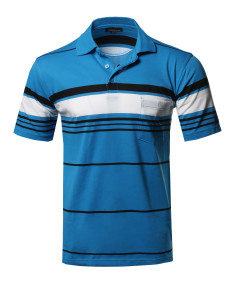Men's Basic Everyday Stripe Chest Pocket Polo T-Shirt