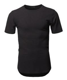 Men's Basic T Shirt Casual Vintage Scoop Bottom Tee