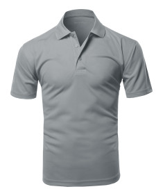 Men's Solid Short Sleeves Basic Dry Performance Comfort Polo Shirt (XS~3XL)