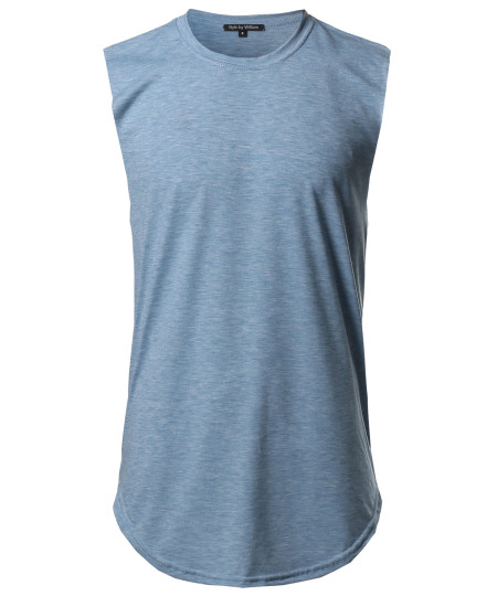 Men's Solid Casual Raw Cut Edges High Low Tank Top MADE IN USA