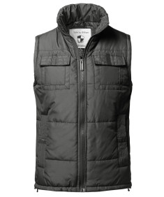 Men's Solid Front Zip Up Outdoor Padded Vest Outwear Jacket
