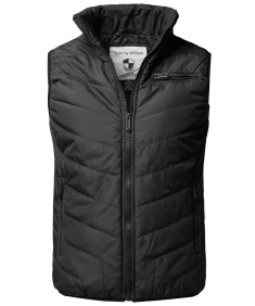 Men's Solid Front Zip Up Outdoor Comfortable Padded Vest Outwear Jacket
