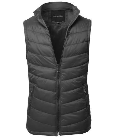 Men's Solid Front Zip Up Outdoor Padded Vest Outwear Jacket