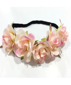 Women's Party Wedding Beach Festival Pink Flower Elasticized Headband