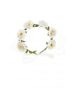 Women's Boho Style Party Wedding Beach Festival White Rose Flower Headband