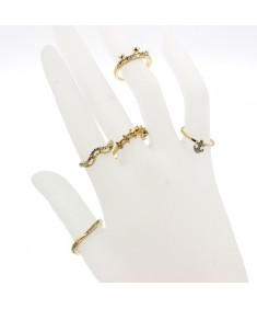 Women's Fashion Charm Crystal Crown Anchor Jewelry Midi Knuckle Ring