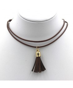 Women's Fashion Charm Vintage Leather Stainless Brown Whinny Necklace