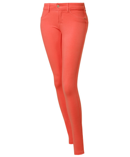 Women's Skinny Good Stretchy One Button Colored Knit Pants
