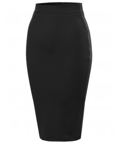 Women's Basic and Stretchy Pencil Skirt